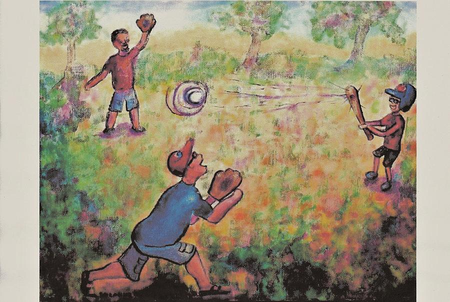 Baseball Painting - Baseball by Suzanne  Marie Leclair