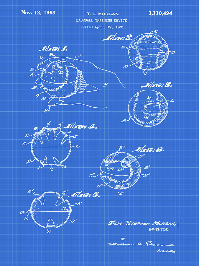 Baseball training device patent 1961 blueprint photograph by bill cannon baseball photograph baseball training device patent 1961 blueprint by bill cannon malvernweather Image collections
