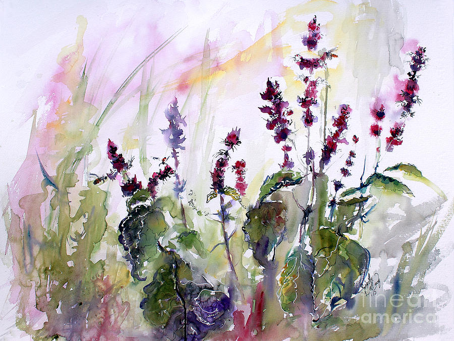 Basil Painting - Basil Culinary Herb Watercolor by Ginette Callaway