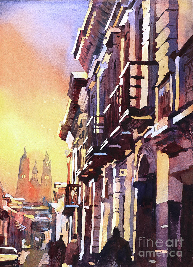 Art Print Painting - Basilica At Sunset In City Of Quito, Ecua by Ryan Fox