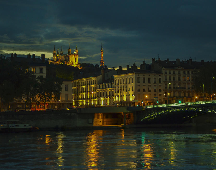 Lyon Photograph - Basilica Notre Dame De Fourviere From Across The Rhone River by Allen Sheffield