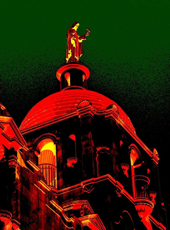 San Antonio Photograph - Basilica Of The Little Flower, Dome With Green Sky by Edgar Farrera