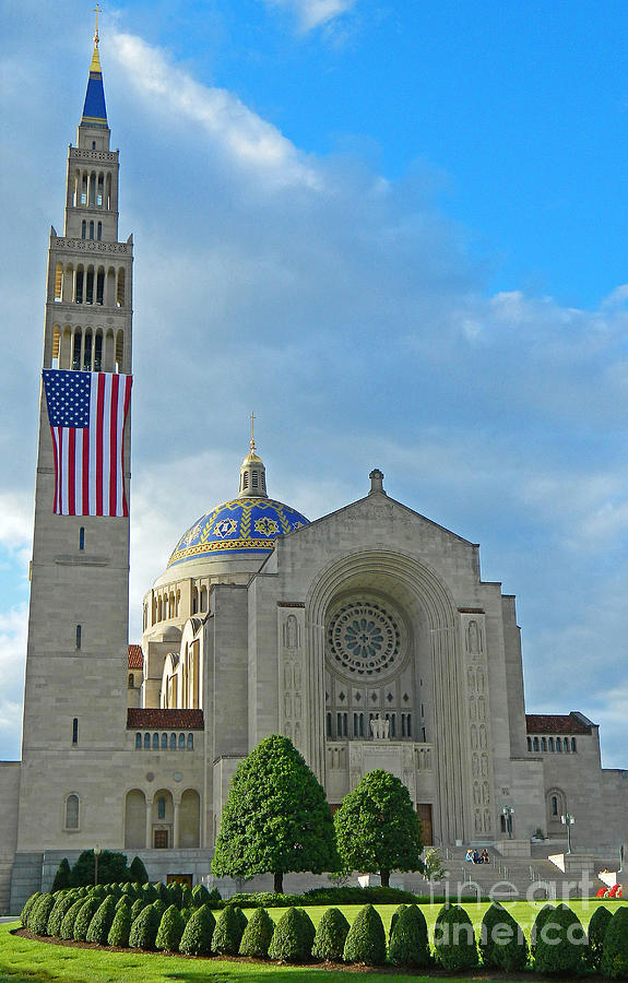 Basilica Of The National Shrine Of The Immaculate Conception Front View Photograph