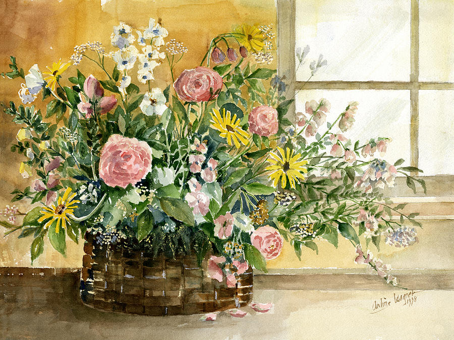 Basket Painting - Basket Bouquet by Arline Wagner
