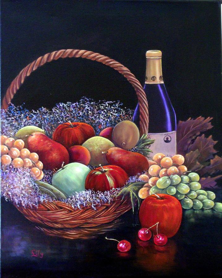 Stillife Painting - Basket Of Abundance by Lily Adamczyk