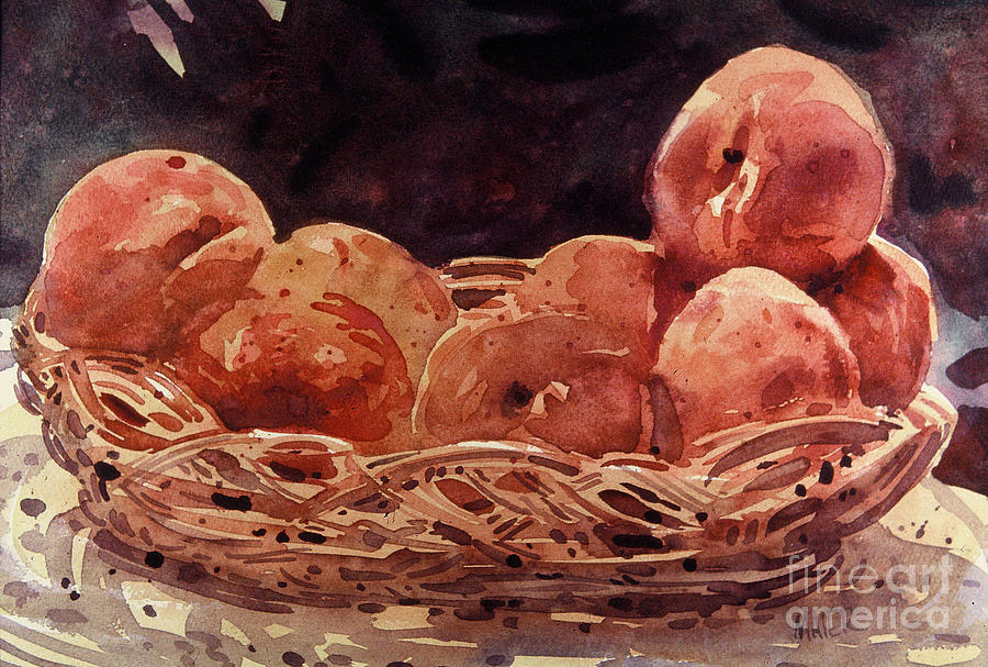 Peaches Painting - Basket Of Peaches by Donald Maier