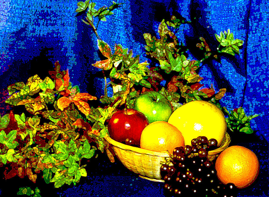 Fruit Photograph - Basket With Fruit by Nancy Mueller