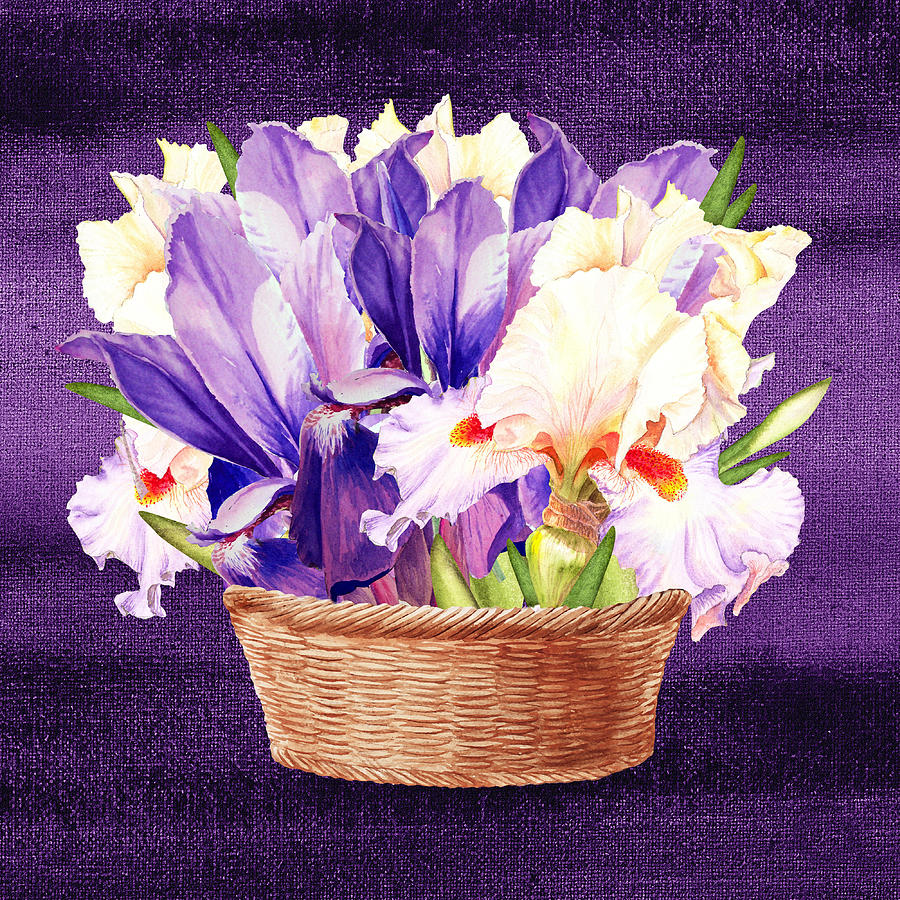 Basket with purple and pink iris flowers painting by irina sztukowski iris painting basket with purple and pink iris flowers by irina sztukowski izmirmasajfo
