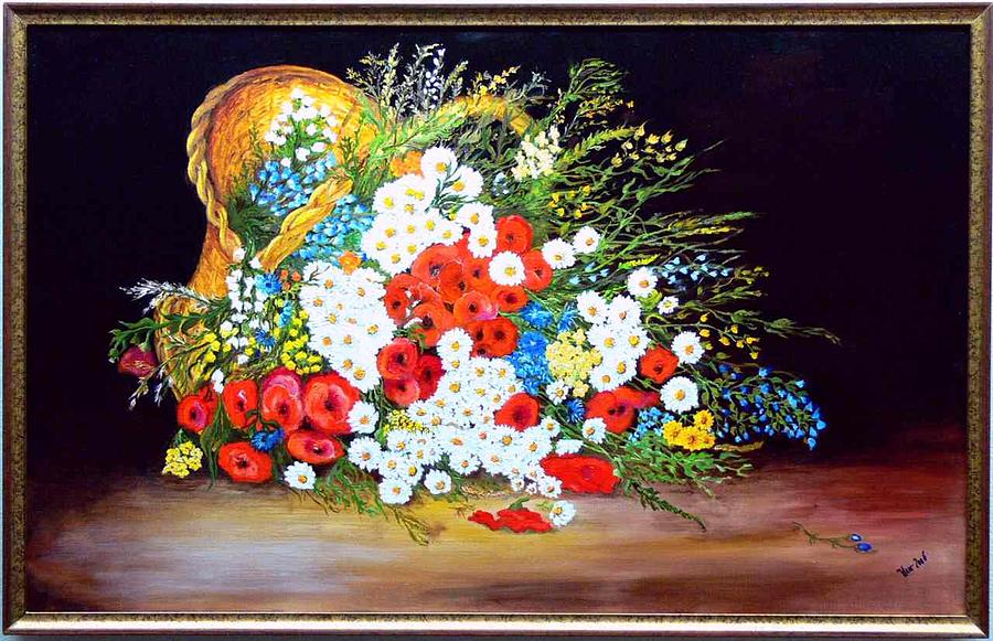 Summer Painting - Basket With Summer Flowers by Helmut Rottler