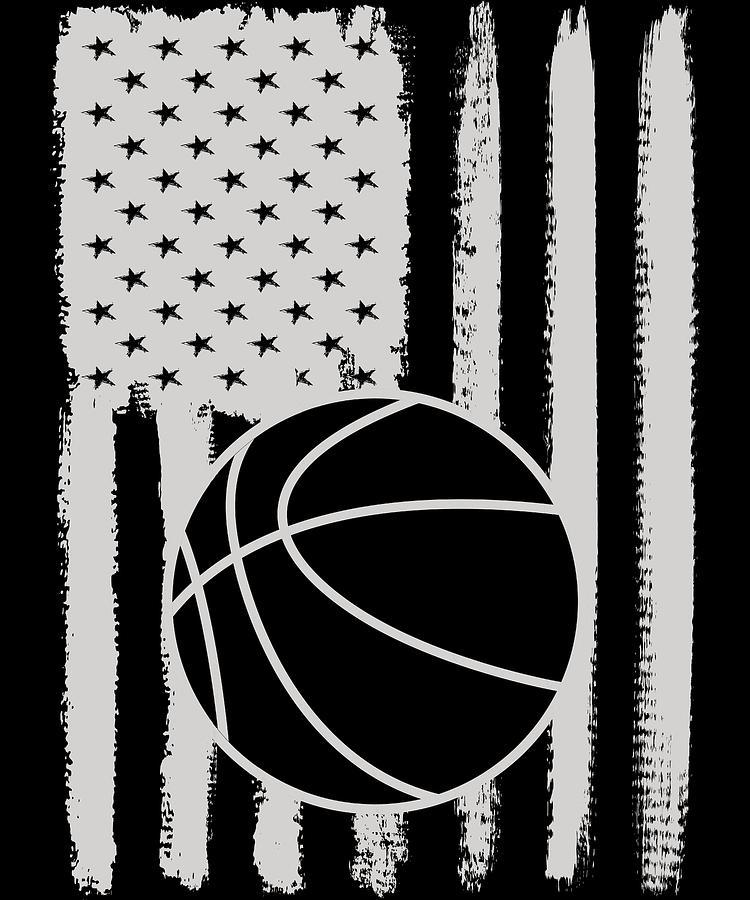 Basketball Digital Art - Basketball American Flag Usa Apparel by Michael S