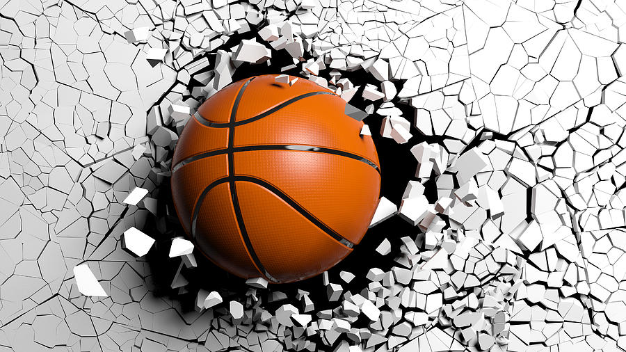 Basketball Ball Digital Art - Basketball Ball Breaking Forcibly Through A White Wall. 3d Illustration. by George Tsartsianidis