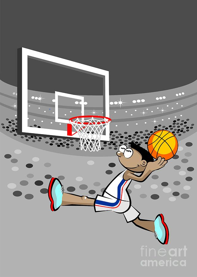 Man Digital Art - Basketball Player Jumping And Flying To Shoot The Ball In The Hoop by Daniel Ghioldi