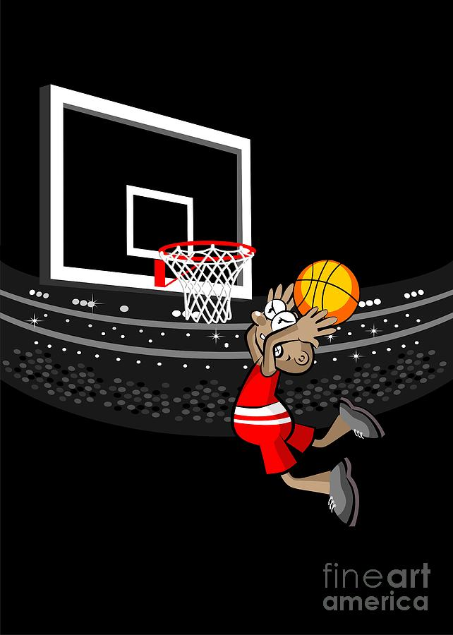 Man Digital Art - Basketball Player Jumping In The Stadium And Flying To Shoot The Ball In The Hoop by Daniel Ghioldi