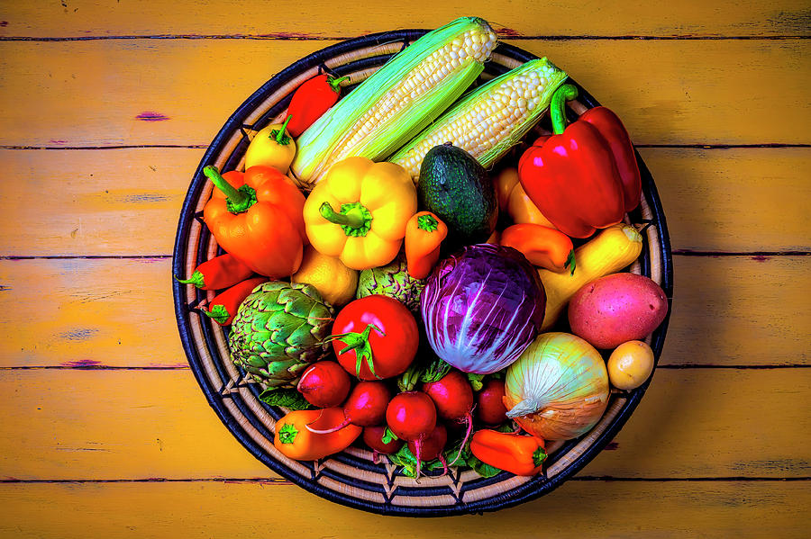 Vegetable Photograph - Basketful Of Fresh Vegetables by Garry Gay