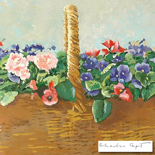 Basket Painting - Baskets Of Violets by  Charles Apt
