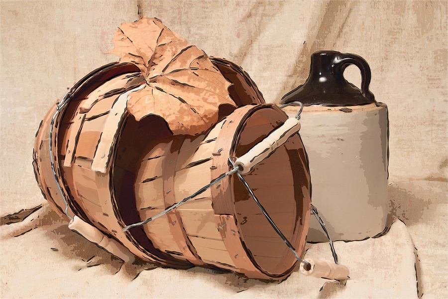 Basket Photograph - Baskets With Crock I by Tom Mc Nemar