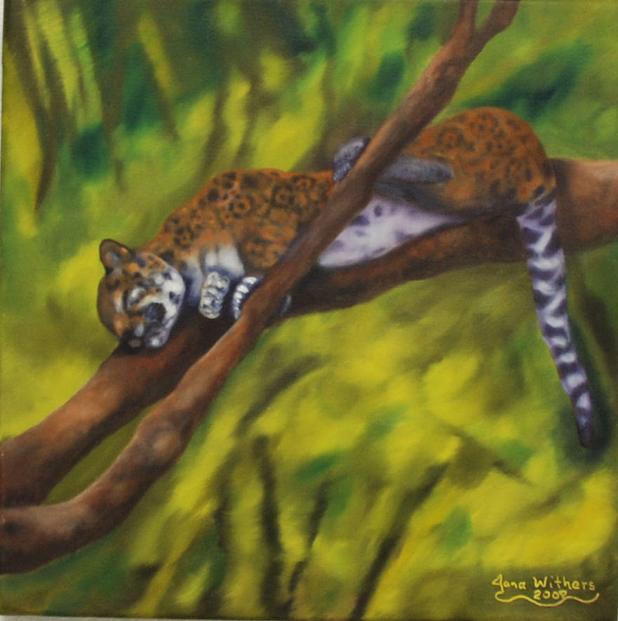 Jaguar Painting - Basking in Belize by Jana Withers