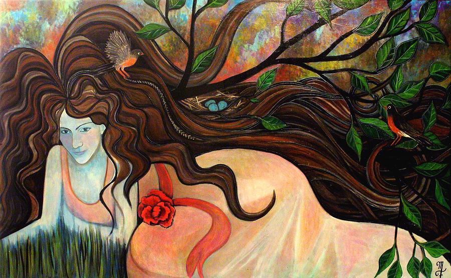 Woman Painting - Basking With Birds by Monica Furlow