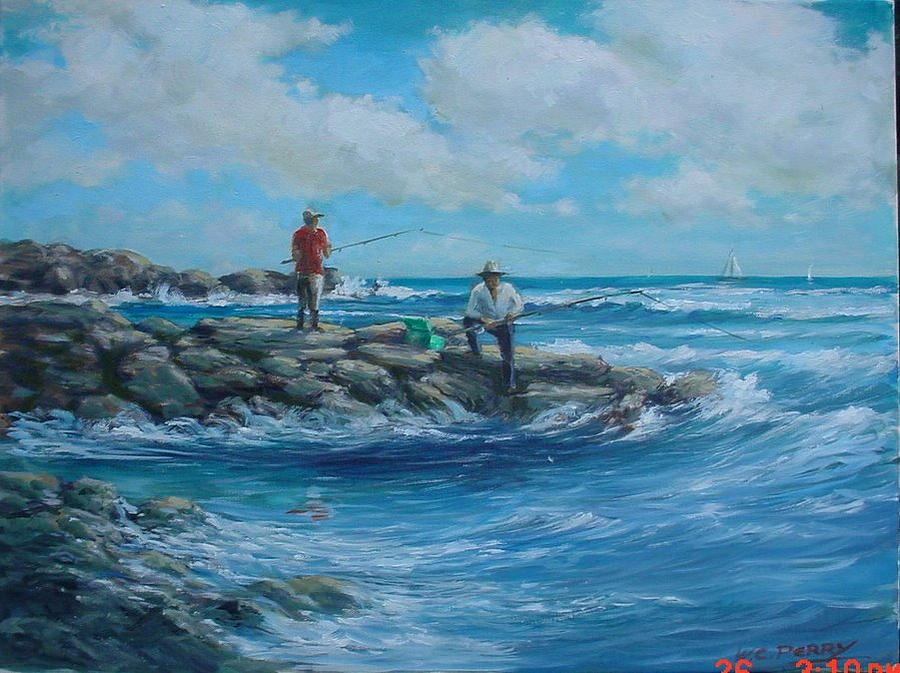 Bass Fishing Painting - Bass Fishing Off Brenton Reef by Perrys Fine Art