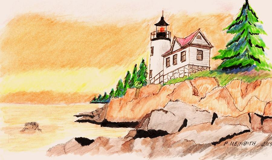 Lighthouses Drawing - Bass Harbor Head Lighthouse by Paul Meinerth