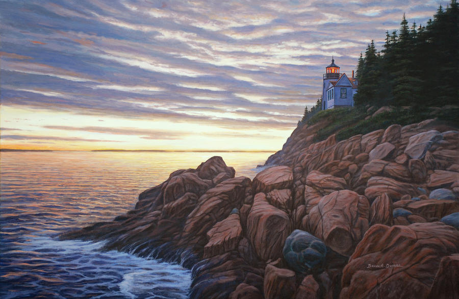 Seascape Painting - Bass Harbor Light by Bruce Dumas