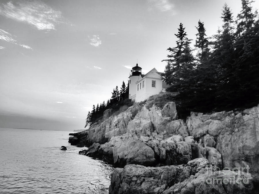 Bass Harbor Lighthouse In Black And White Photograph