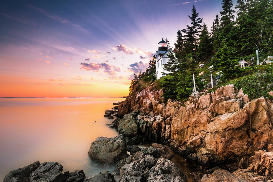 Bass Harbor Lighthouse Sunset Photograph by Ranjay Mitra