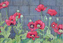Poppies Painting - Bass Harbor Poppies by Gail Ribas