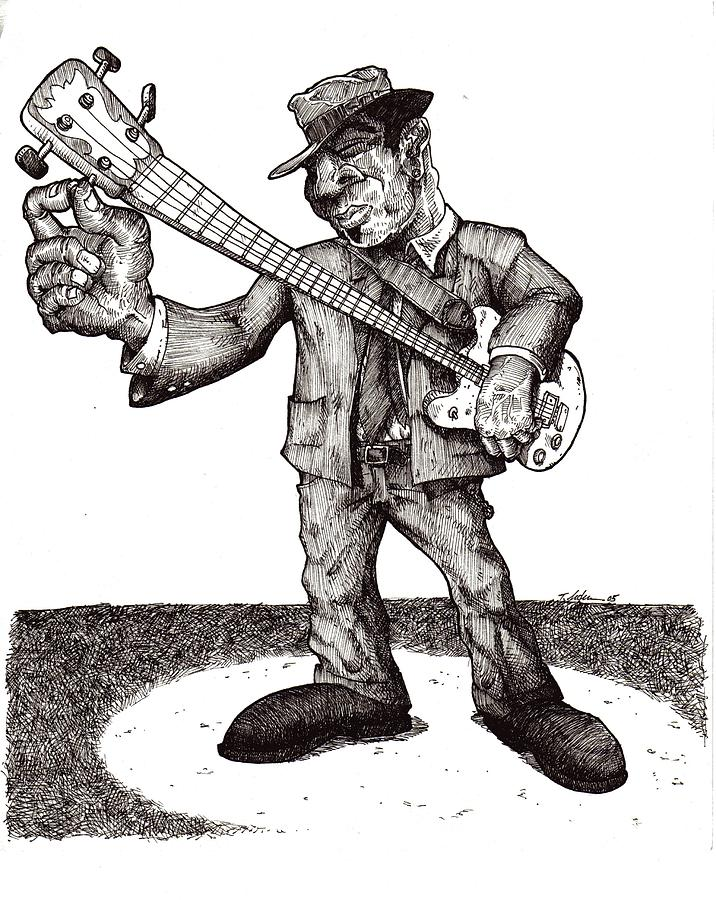 Blues Drawing - Bass by Tobey Anderson