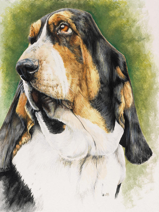 Basset Hound  Dog Cushion Cover Printed Linen  Water color painting