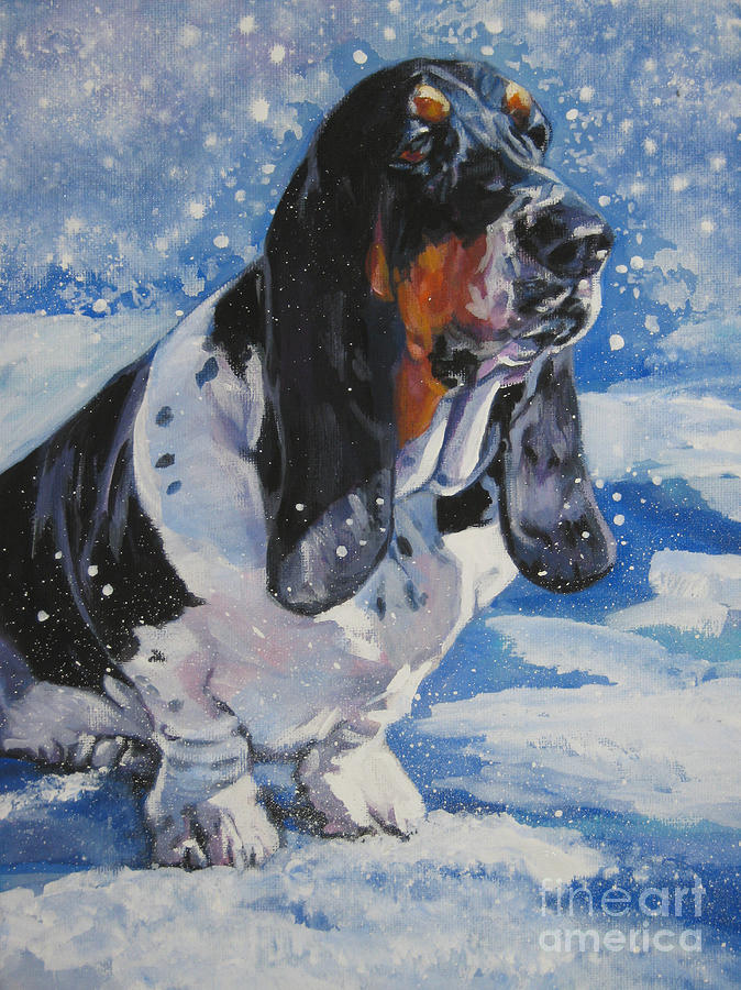 Dog Painting - basset Hound in snow by Lee Ann Shepard