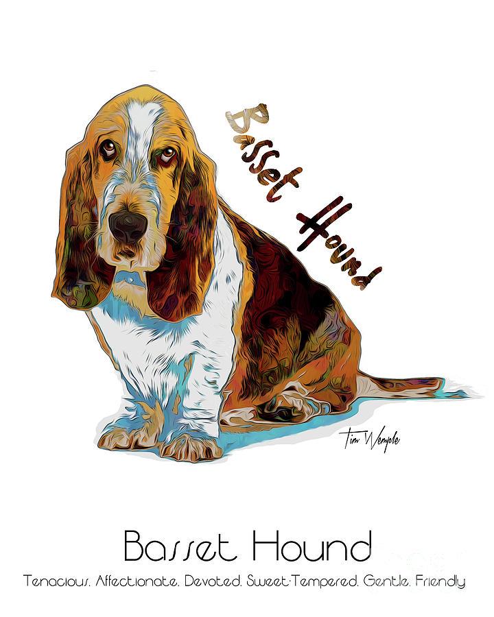 Basset Hound Digital Art - Basset Hound Pop Art by Tim Wemple