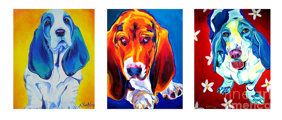 Basset Painting - Basset Trio by Alicia VanNoy Call