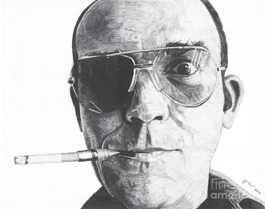 Hunter S Thompson Drawing - Bat Country by Jeff Ridlen