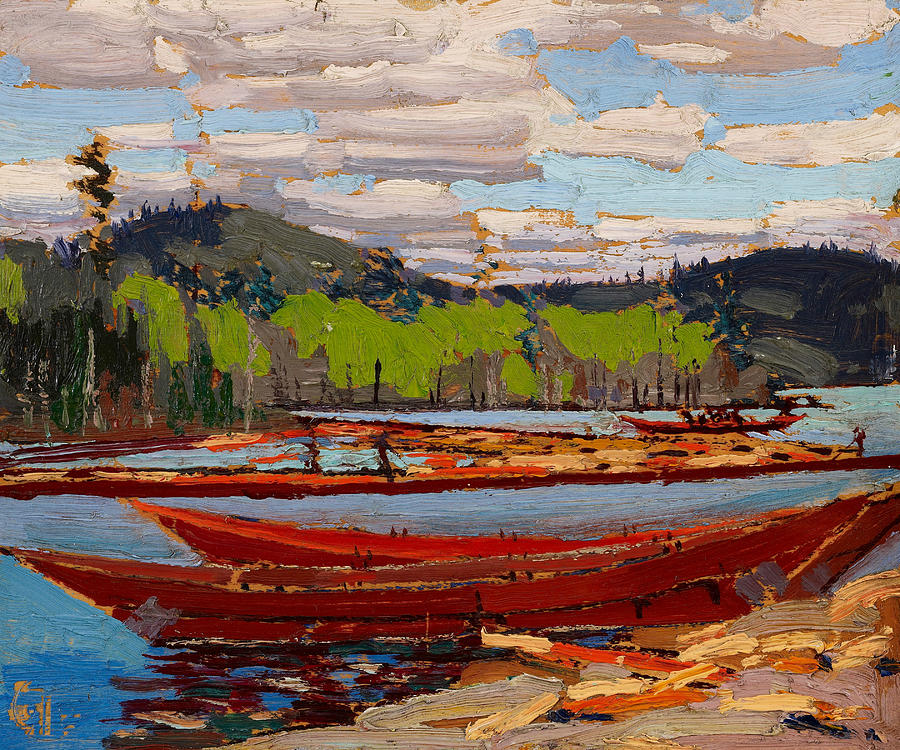 Canadian Painters Painting - Bateaux, 1916.  by Tom Thomson