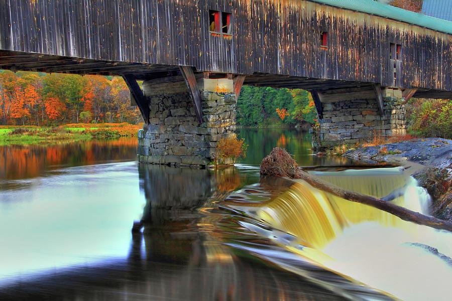 Bath Nh Photograph - Bath Covered Bridge In Autumn by Brian Pflanz