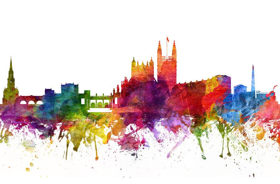 Bath Drawing - Bath England Cityscape 06 by Aged Pixel