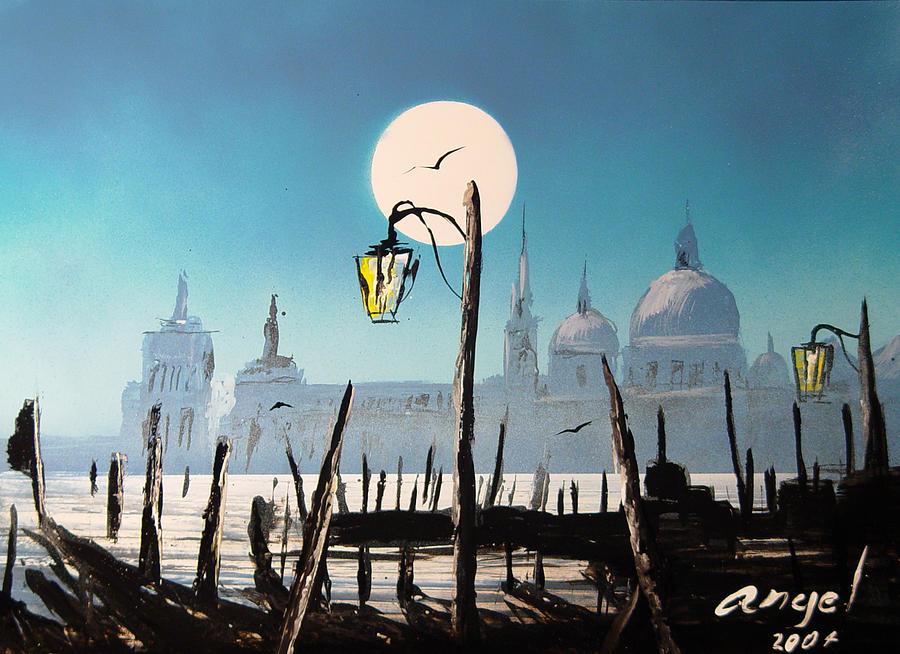 Moom Painting - Bath Of Light Venice  by Angel Ortiz