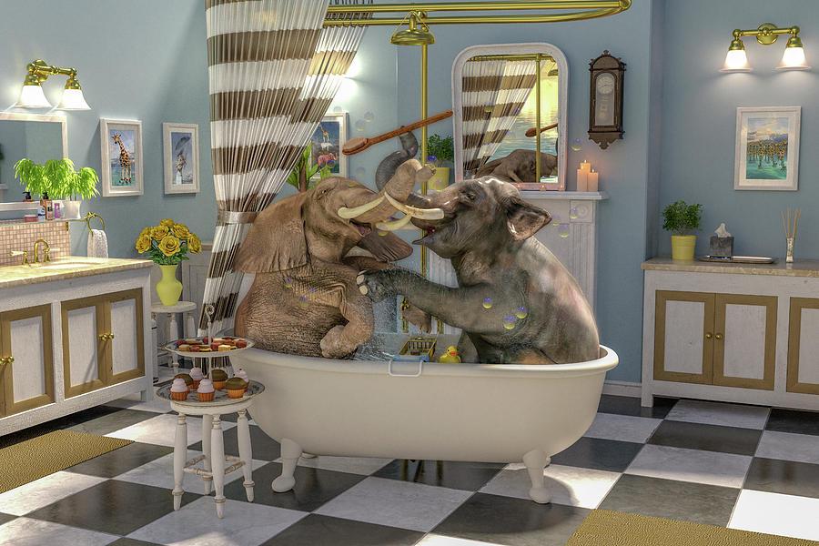 Bath Time Digital Art