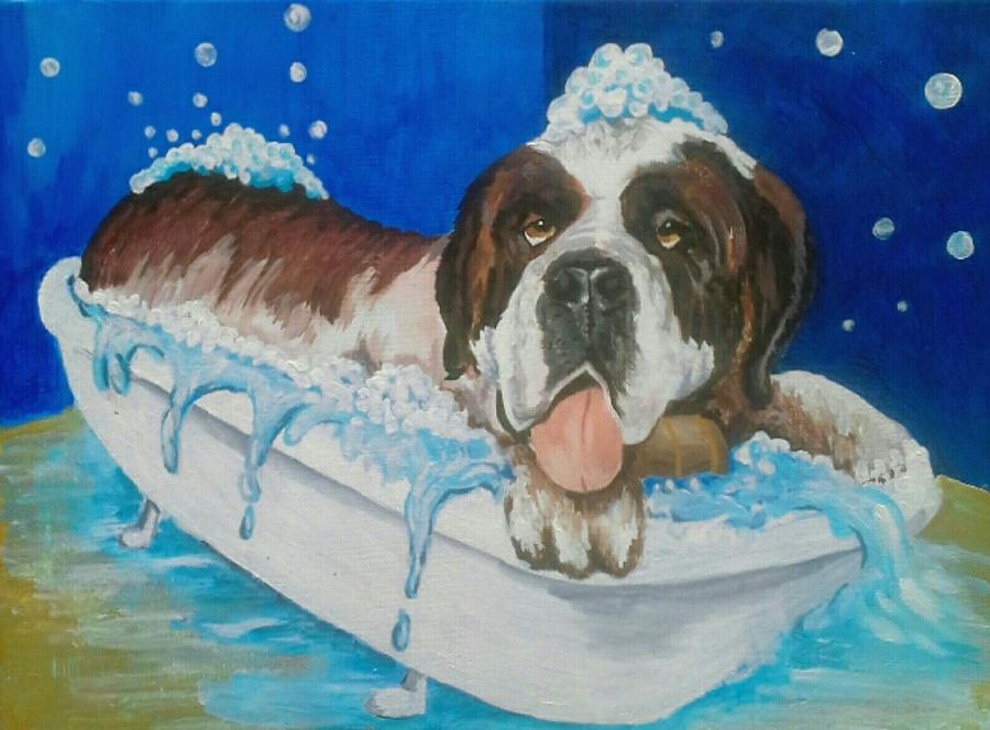 bath time Shnorbitz Painting by Alan Kennedy
