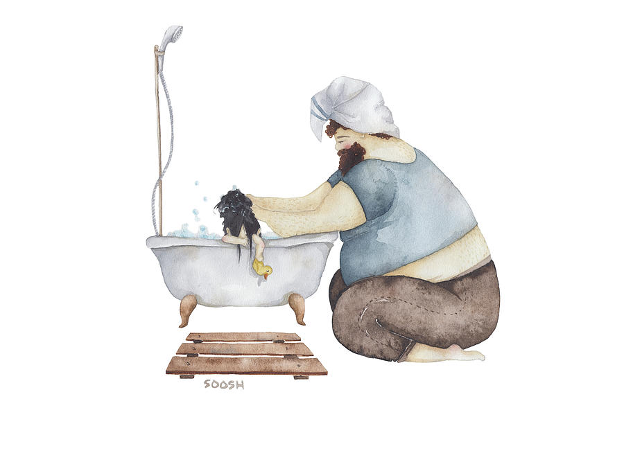 Illustration Drawing - Bath time by Soosh