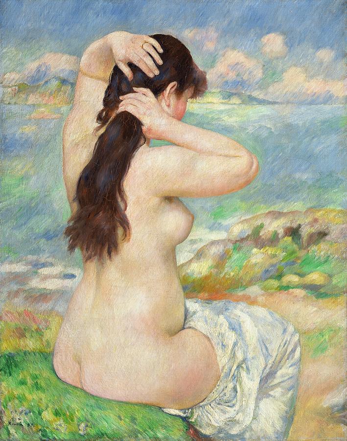 Nude Painting - Bather Arranging Her Hair by Pierre Auguste Renoir