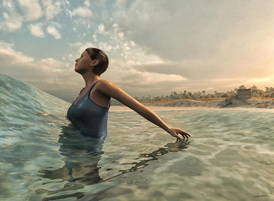 Ocean Digital Art - Bather by Cynthia Decker
