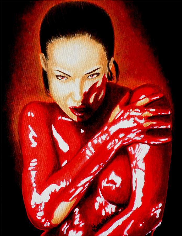 Vampire Painting - Bathing In Arrogance by Al  Molina