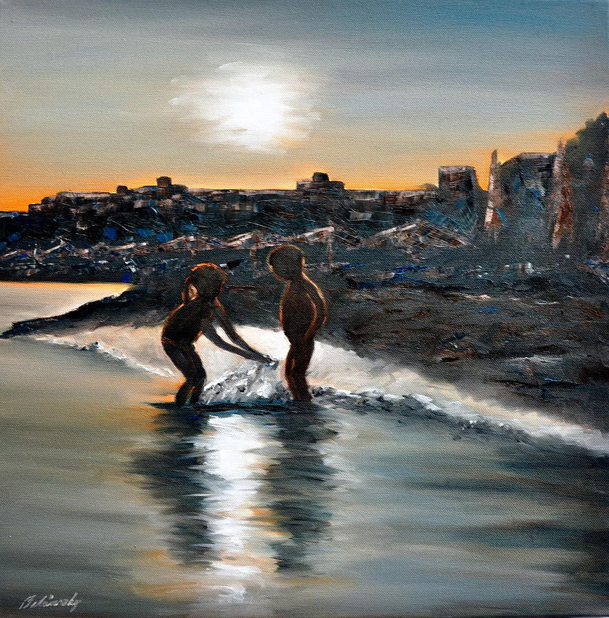Sea Painting - Bathing In Light by Beata Belanszky-Demko