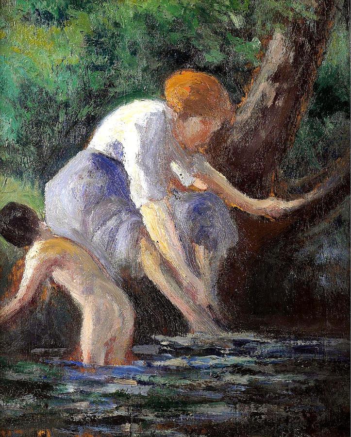 Maximilien Luce Painting - Bathing by Maximilien Luce