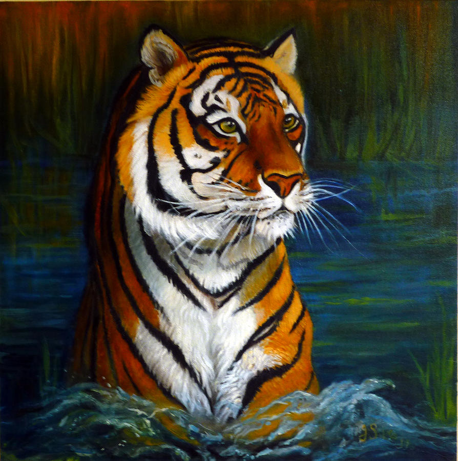 Tiger Painting - Bathing Tiger by Janet Silkoff