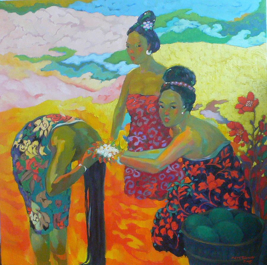 Bathing1 Painting by Tung Nguyen Hoang