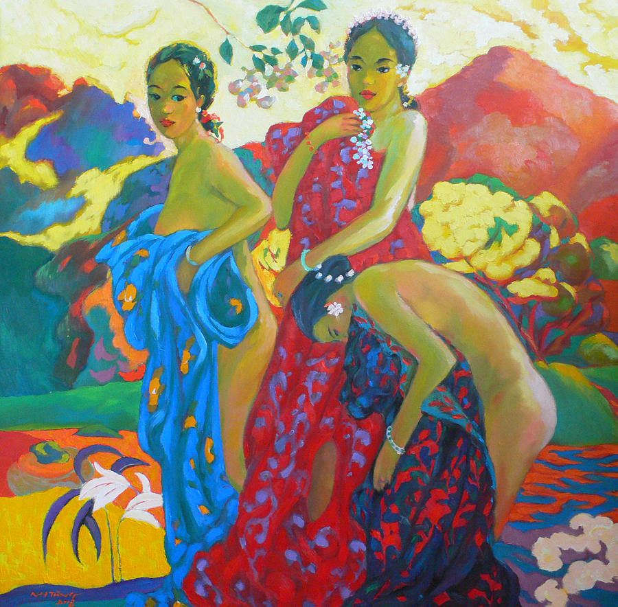 Bathing4 Painting by Tung Nguyen Hoang