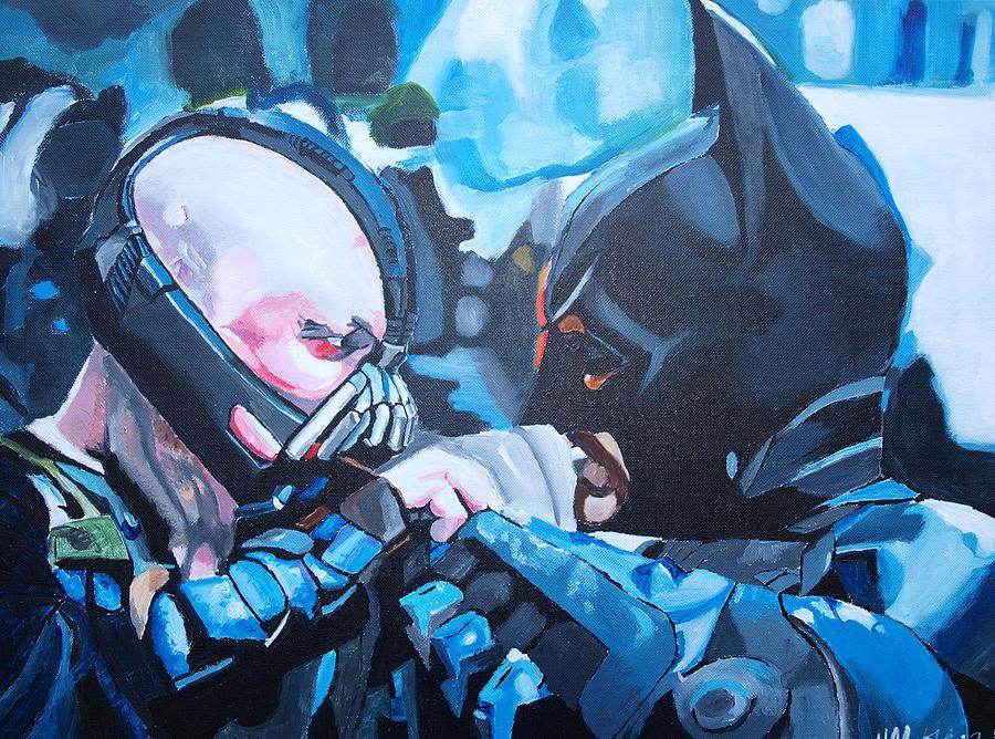 Batman Painting - Batman Vs Bane by Martin Putsey